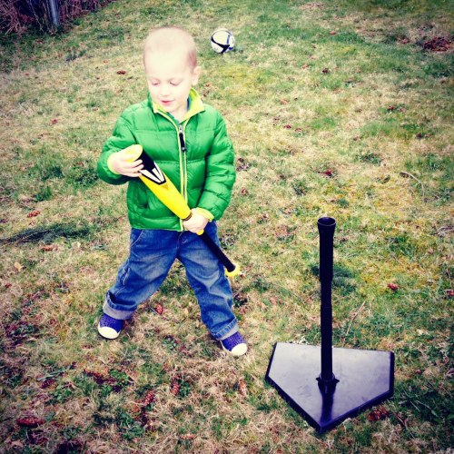 Scenes from our weekend - Everett's new bat